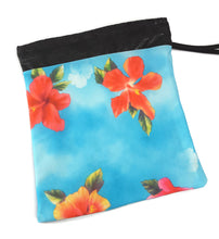 Load image into Gallery viewer, Grip Bag Snap Closure Blue With Orange Hibiscus Flowers - Fliptastic Leos