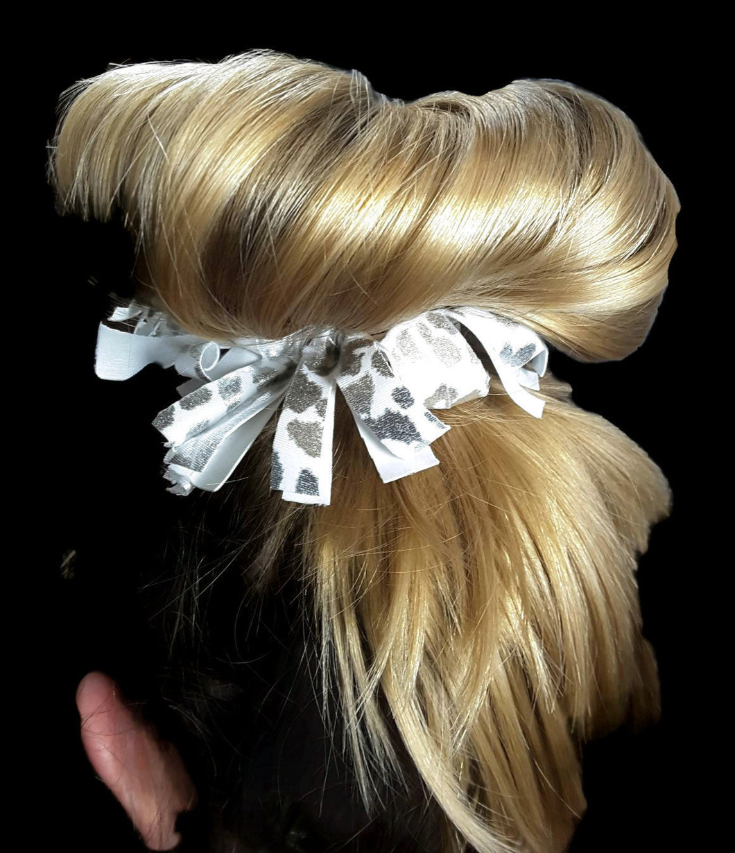 Fringe Hair Scrunchie Silver Foil Hologram Leopard on White - Fliptastic Leos