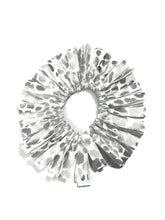 Load image into Gallery viewer, Fringe Hair Scrunchie Silver Foil Hologram Leopard on White - Fliptastic Leos