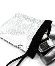 Load image into Gallery viewer, Gymnastics Grip Bag Snap Closure White Silver Leopard - Fliptastic Leos