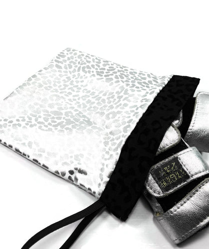 Gymnastics Grip Bag Snap Closure White Silver Leopard - Fliptastic Leos