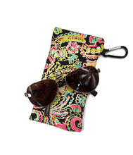 Load image into Gallery viewer, Glass Case Black Pink Yellow Blue Paisley Gold Foil Snap Closure - Fliptastic Leos