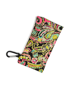 Glass Case Black Pink Yellow Blue Paisley Gold Foil Snap Closure - Fliptastic Leos