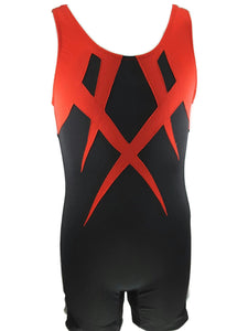 Boys Leotard Black With Red Applique - Fliptastic Leos