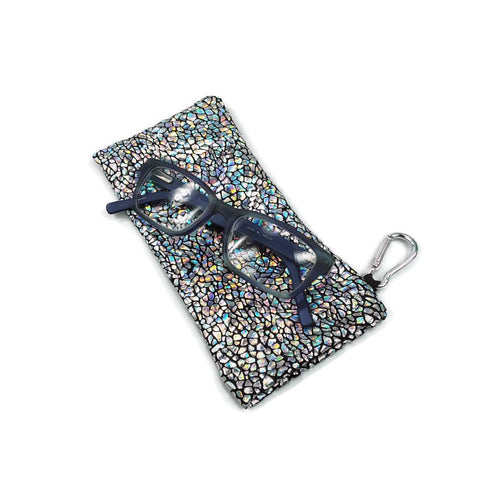 Sunglasses Glasses Case Snap Closure Silver on Black Avatar Hologram Print - Fliptastic Leos