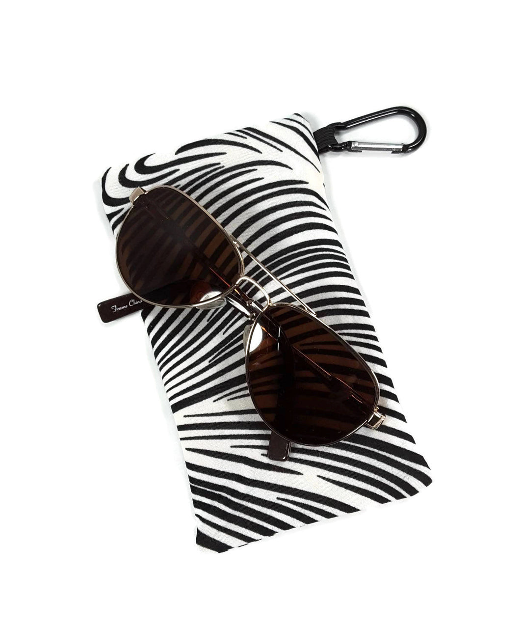 Sunglasses Glasses Case Snappy Snap Closure Black and White Zebra Print - Fliptastic Leos