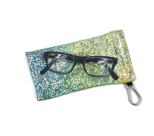 Sunglasses Glasses Case Snap Closure Silver Rainbow Hologram Print - Fliptastic Leos