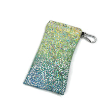 Load image into Gallery viewer, Sunglasses Glasses Case Snap Closure Silver Rainbow Hologram Print - Fliptastic Leos