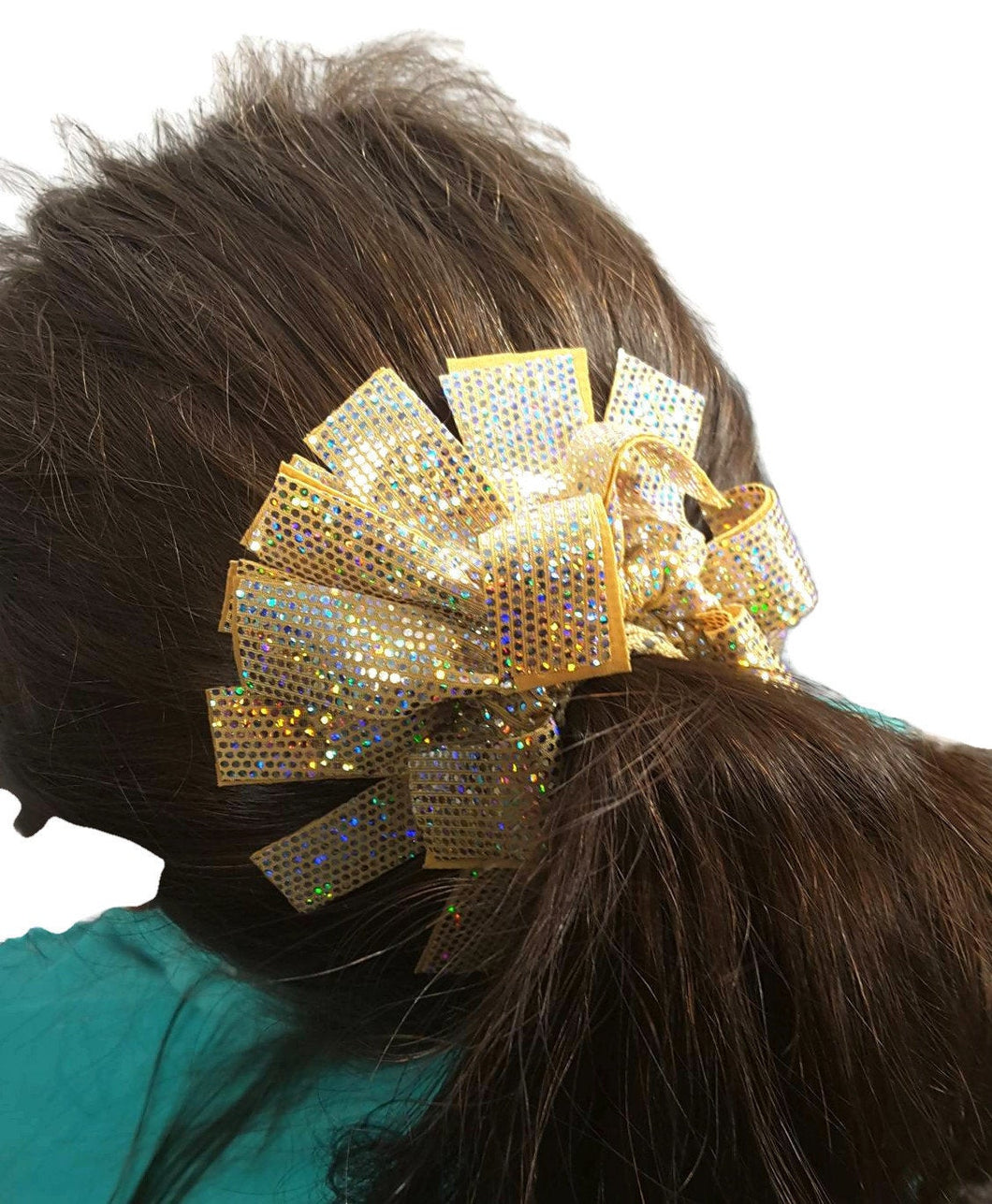 Fringe Hair Scrunchies Reflective Gold Hologram - Fliptastic Leos
