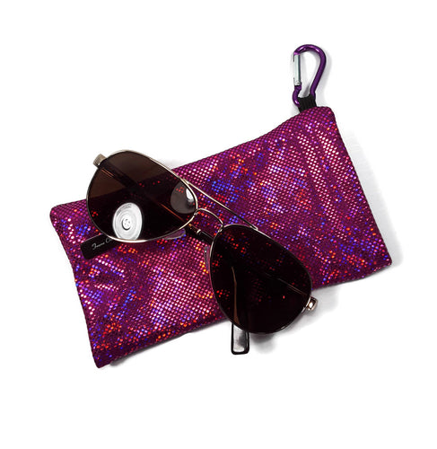 Sunglasses Glasses Case Snappy Snap Closure Fuchsia Pink Shattered Glass Hologram - Fliptastic Leos