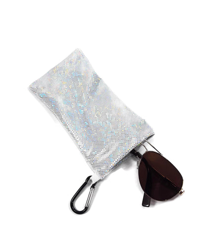 Sunglasses Glasses Case Snap Closure White Shattered Glass Hologram Print - Fliptastic Leos