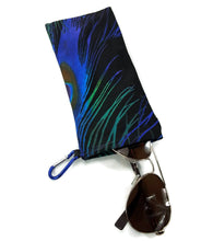Load image into Gallery viewer, Sunglasses Glasses Case Snappy Snap Closure Black With Blue Green Purple Peacock Feather - Fliptastic Leos