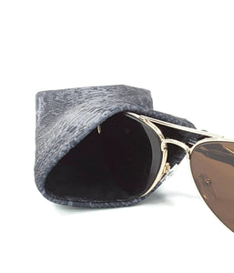 Sunglasses Glasses Case Snappy Snap Closure Black Gray Snake Print - Fliptastic Leos