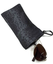 Load image into Gallery viewer, Sunglasses Glasses Case Snappy Snap Closure Black Gray Snake Print - Fliptastic Leos
