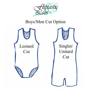 Boys Leotard or Singlet Reptile Wet Look Blue Orange - Fliptastic Leos