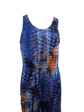 Load image into Gallery viewer, Boys Leotard or Singlet Reptile Wet Look Blue Orange - Fliptastic Leos