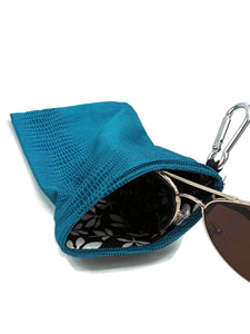 Sunglasses Glasses Case Snappy Snap Closure Teal Snake Print - Fliptastic Leos