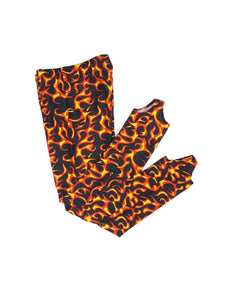 Boys Pommel Stirrup Pants Orange Flames - Fliptastic Leos