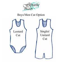 Load image into Gallery viewer, Boys Gymnastics Leotard Blue & Black Abstract