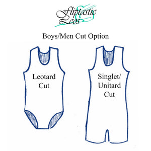 Boys Gymnastics Leotard Blue & Black Abstract