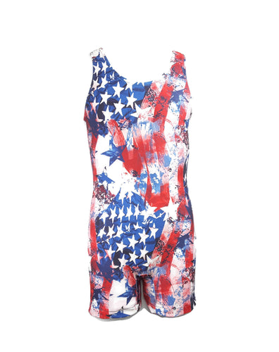 Boys Leotard or Singlet Stars and Stripes Abstract - Fliptastic Leos