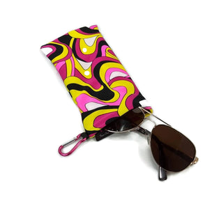 Sunglasses Case Snap Closure Retro Pink Abstract Print With Carabiner Clip - Fliptastic Leos