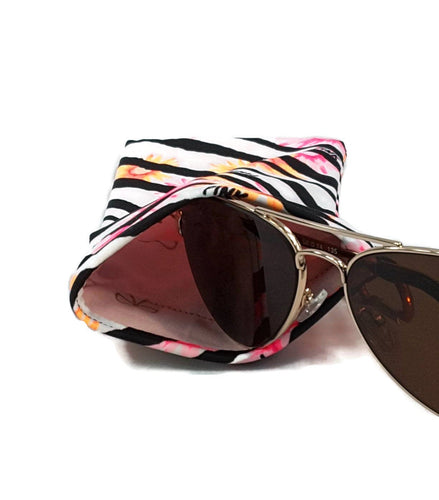 Sunglasses Soft Case Snap Closure Zebra With Pink Orange Flowers Print And Carabiner Clip - Fliptastic Leos