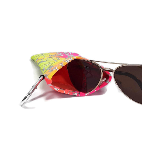 Sunglasses Glasses Case Snap Closure Pink Orange and Yellow Tye-Dye with Silver Hologram Print - Fliptastic Leos
