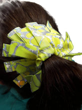 Load image into Gallery viewer, Fringe Hair Scrunchies Yellow Orange Tie Dye With Silver Hologram - Fliptastic Leos
