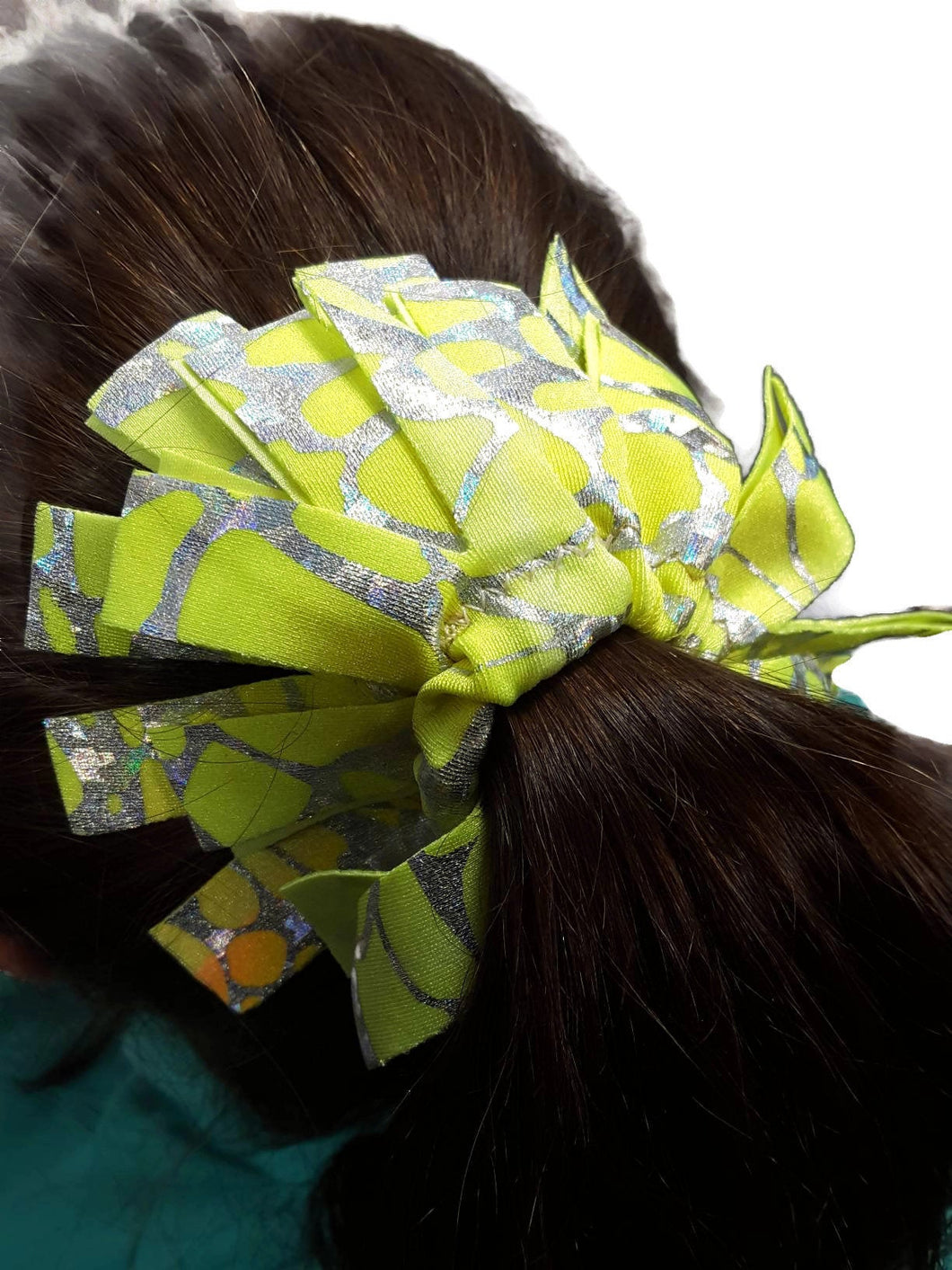 Fringe Hair Scrunchies Yellow Orange Tie Dye With Silver Hologram