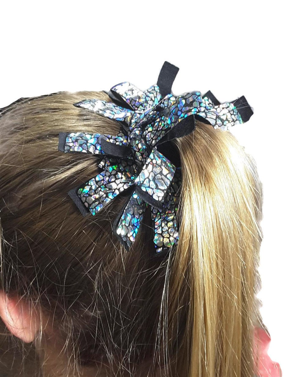 Fringe Hair Scrunchies Silver Hologram Avatar on Black - Fliptastic Leos