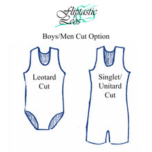 Load image into Gallery viewer, Boys Leotard or Singlet Black With Red Geometric Applique