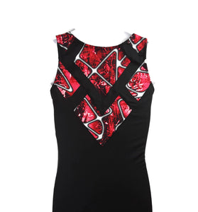 Boys Leotard or Singlet Black With Red Geometric Applique