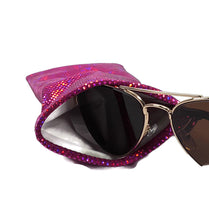 Load image into Gallery viewer, Sunglasses Glasses Case Snappy Snap Closure Fuchsia Pink Shattered Glass Hologram - Fliptastic Leos