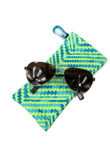 Sunglasses Glasses Case Snappy Snap Closure Blue and Green Chevron Print - Fliptastic Leos