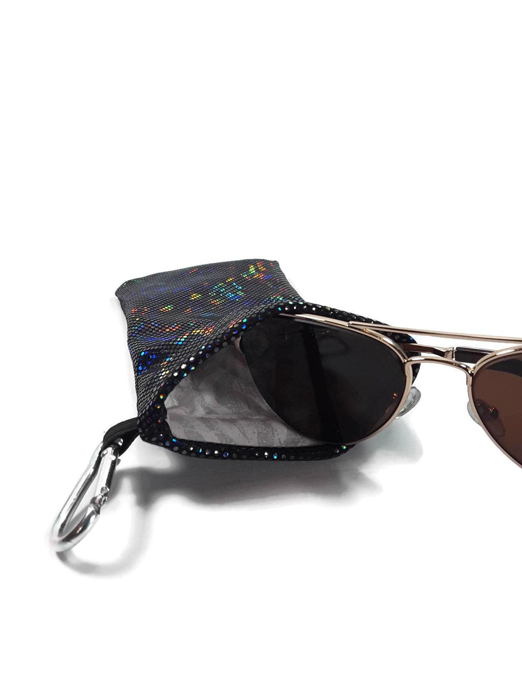 Sunglasses Glasses Case Snappy Snap Closure Black Shattered Glass Hologram - Fliptastic Leos