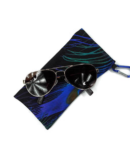 Sunglasses Glasses Case Snappy Snap Closure Black With Blue Green Purple Peacock Feather - Fliptastic Leos