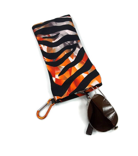 Sunglasses Glasses Case Snappy Snap Closure Orange Tiger Print - Fliptastic Leos
