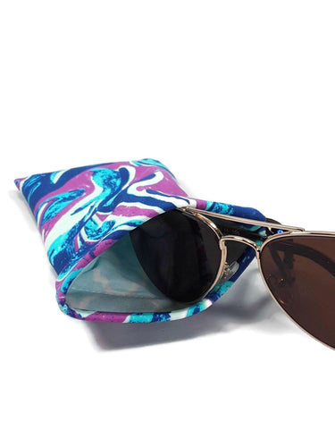 Sunglasses Glasses Case Snap Closure Blue Purple White Wave Print - Fliptastic Leos
