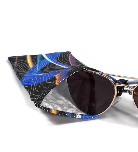 Sunglasses Glasses Case Snappy Snap Closure Blue Black Swirls with Silver Hologram Print - Fliptastic Leos