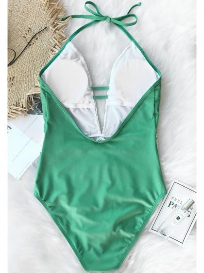 Green One-Piece Swimsuit Halter Plunge Open Back