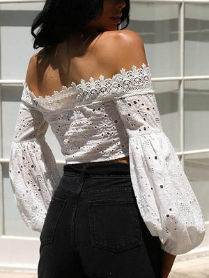 White Off Shoulder Lace Panel Puff Sleeve Crop Blouse