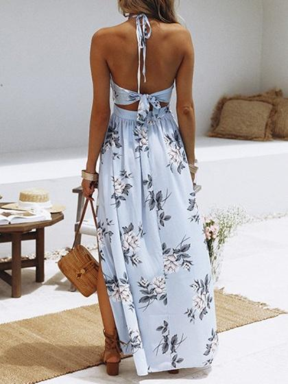 Light Blue Plunge Floral Print Thigh Split  Chic Women Maxi Dress