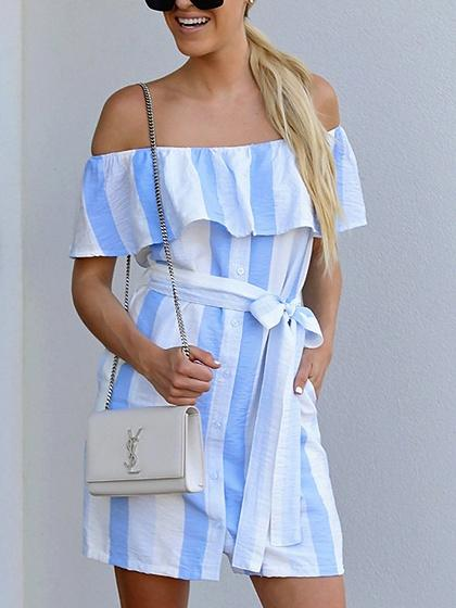 Blue Stripe Cotton Off Shoulder Tie Waist Chic Women Mini Dress
