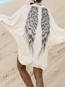 White Cotton Blend Eagle Print Batwing Sleeve Chic Women Cardigan