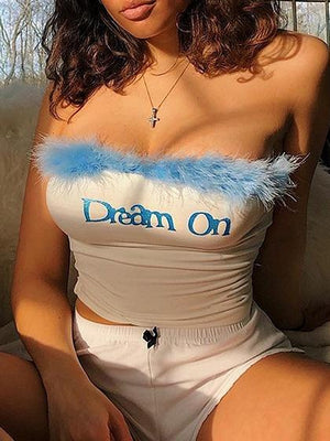 White Bandeau Letter Embroidery Fur Trim Crop Top