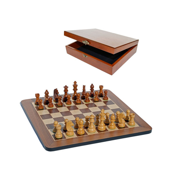 Grand Staunton Chess Set & Wooden Box - Tournament Size Weighted Pieces & Walnut Board - 19 in.