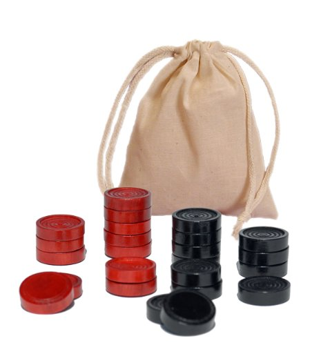 WE Games Wood Checkers with Stackable Ridge - Black/Red - 2 Inches in Diameter