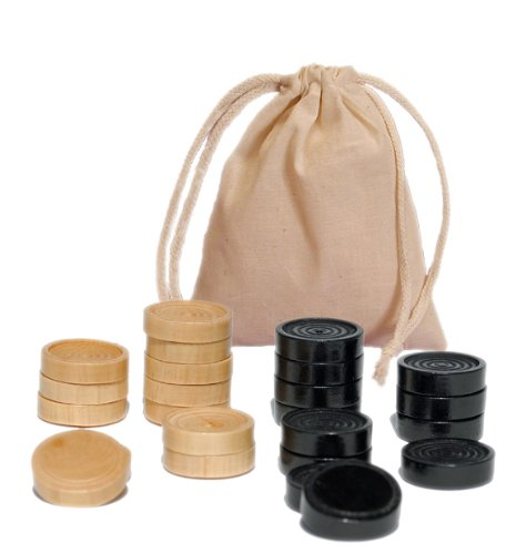 Wood Checkers with Stackable Ridge - Black/Natural - 2 Inches in Diameter