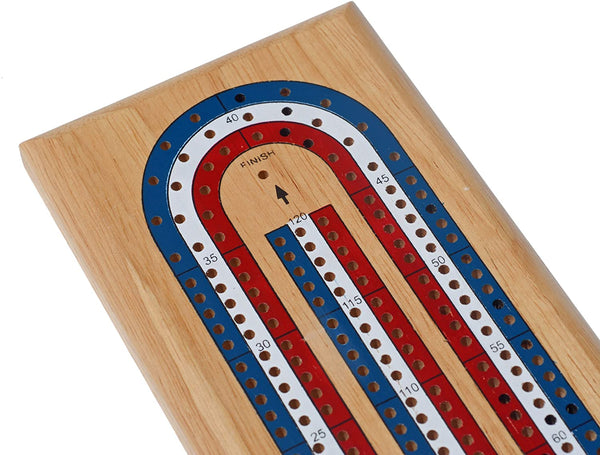 Classic Cribbage Set - Solid Wood TriColor (Red, White, Blue) Continuous 3 Track Board with Metal Pegs